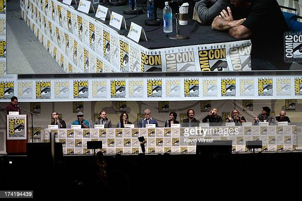 The cast and crew speak onstage at the 'Sons Of Anarchy' panel during ComicCon International 2013 at San Diego Convention Center on July 21 2013 in...