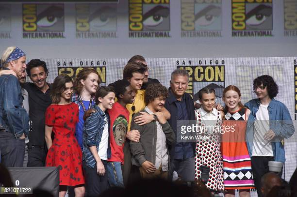 The cast and crew speak onstage during Netflix's Stranger Things panel during ComicCon International 2017 at San Diego Convention Center on July 22...
