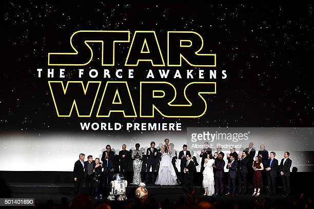 "The cast and crew speak onstage during the World Premiere of ""Star Wars The Force Awakens"" at the Dolby El Capitan and TCL Theatres on December 14..."