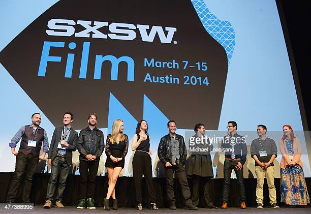 The cast and crew take part in a QA following the Space Station 76 premiere during the 2014 SXSW Music Film Interactive Festival at Topfer Theatre at...