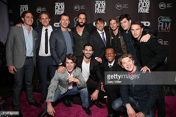 The cast and director of 'Everybody Wants Some' attend the Austin Film Society's 2016 Texas Film Awards at Austin Studios on March 10 2016 in Austin...