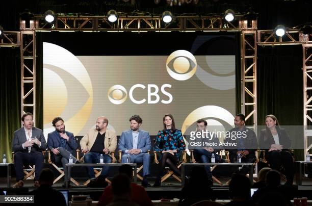 The cast and Executive Producers of the CBS series LIVING BIBLICALLY at the TCA Winter Press Tour 2018 on Monday January 6 2018 at the Langham...
