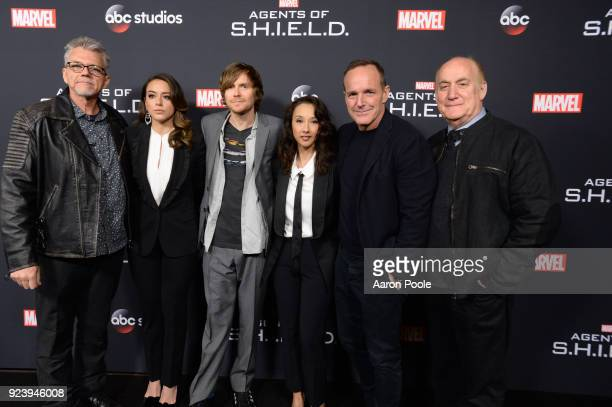 S AGENTS OF SHIELD The Cast and Executive Producers of Walt Disney Television via Getty Images's Marvel's Agents of SHIELD celebrate its milestone...