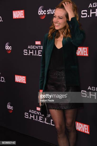 """The Cast and Executive Producers of Walt Disney Television via Getty Images's """"Marvel's Agents of S.H.I.E.L.D."""" celebrate its milestone 100th episode..."""