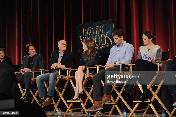 """The cast and filmmakers of """"Into the Woods"""" Tracey Ullman Rob Marshall James Lapine Anna Kendrick Chris Pine and Emily Blunt take part in a QA..."""