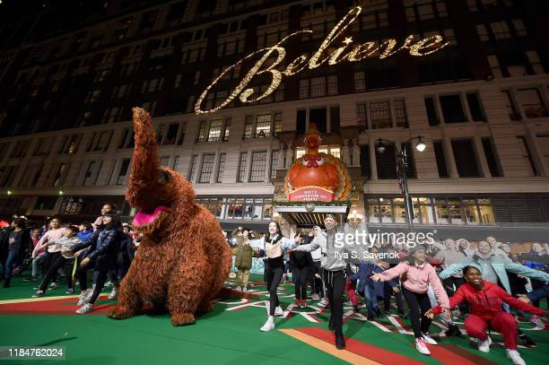 The cast and Muppets of Sesame Street with National Dance Institute rehearse In preparation for the 93rd annual Macy's Thanksgiving Day Parade at...