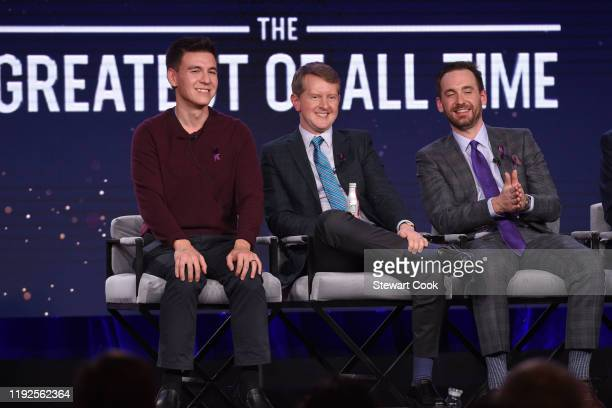 "The cast and producer of ABC's ""Jeopardy! The Greatest Of All Time"" address the press on Wednesday, January 8, as part of the ABC Winter TCA 2020, at..."