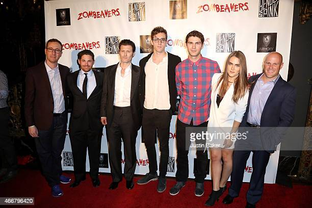 The Cast and Producer of Cabin Fever attend Zombeavers Los Angeles Premiere at The Theater at The Ace Hotel on March 18 2015 in Los Angeles California