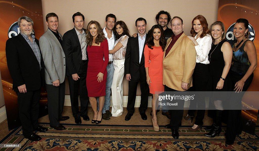 TOUR 2012 - The cast and producers of ABC's 'Desperate Housewives' posed for a photo op with Paul Lee (President, ABC Entertainment Group) at Disney/ABC Television Group's Winter Press Tour 2012. GEORGE W. PERKINS (EXECUTIVE PRODUCER), DOUG SAVANT, BOB DAILY (EXECUTIVE PRODUCER), FELICITY HUFFMAN, JAMES DENTON, TERI HATCHER, PAUL LEE (PRESIDENT, ABC ENTERTAINMENT GROUP), EVA LONGORIA, RICARDO ANTONIO CHAVIRA, MARC CHERRY (CREATOR/EXECUTIVE PRODUCER), MARCIA CROSS, SABRINA WIND (EXECUTIVE PRODUCER), VANESSA