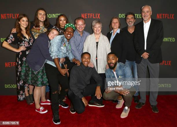 """The cast and producers of """"Disjointed"""" at the premiere of Netflix's """"Disjointed"""" at Cinefamily on August 24, 2017 in Los Angeles, California."""