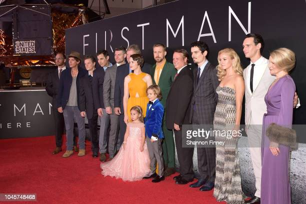 The cast attends the First Man premiere at the National Air and Space Museum on October 4 2018 in Washington DC