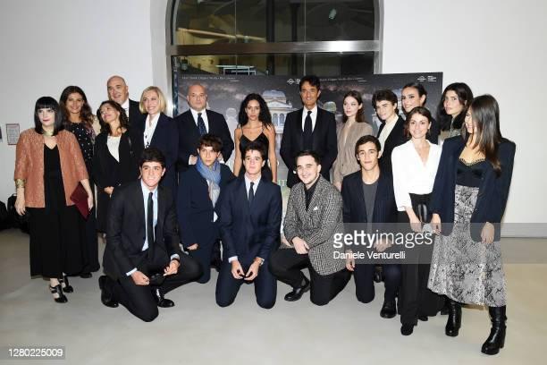 The cast attends the photocall of the opening of Un Cielo Stellato Sopra Il Ghetto Di Roma on October 14 2020 in Rome Italy