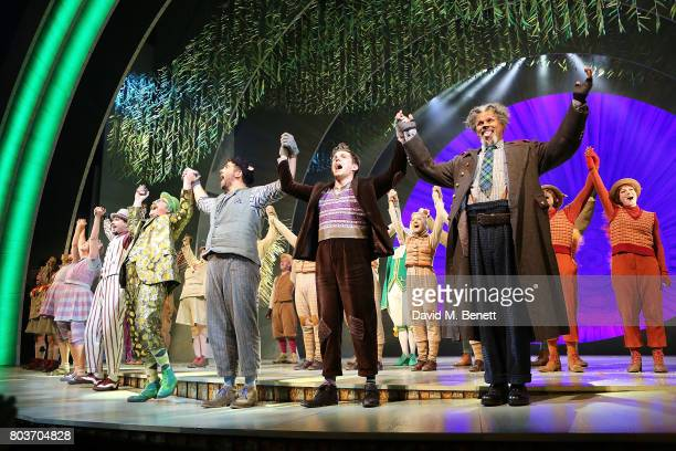 The cast bows at the curtain call during the press night performance of 'The Wind In The Willows' at the London Palladium on June 29 2017 in London...