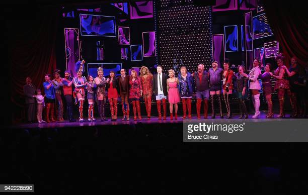 The cast celebrates onstage as the hit musical Kinky Boots celebrates it's 5th Anniversary on Broadway at The Hirshfeld Theatre on April 4 2018 in...