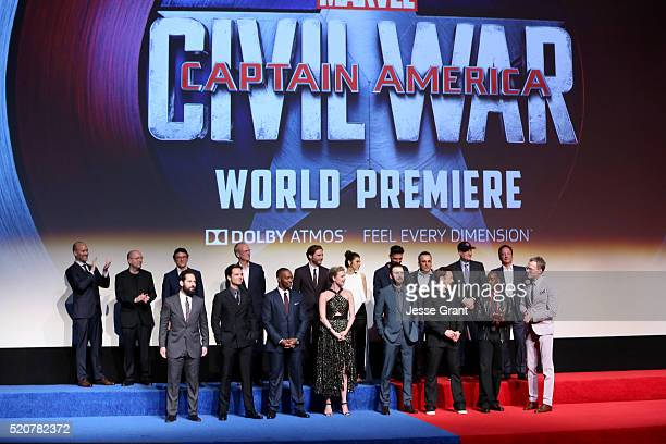 The cast crew attend The World Premiere of Marvel's 'Captain America Civil War' at Dolby Theatre on April 12 2016 in Los Angeles California