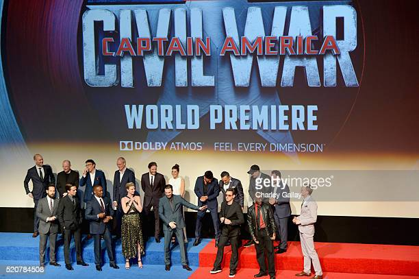 The cast crew attend The World Premiere of Marvel's Captain America Civil War at Dolby Theatre on April 12 2016 in Los Angeles California