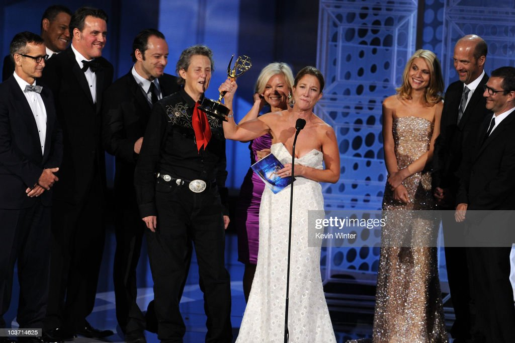 The cast & crew of 'Temple Grandin' accept the Outstanding Made for Television Movie award onstage at the 62nd Annual Primetime Emmy Awards held at the Nokia Theatre L.A. Live on August 29, 2010 in Los Angeles, California.