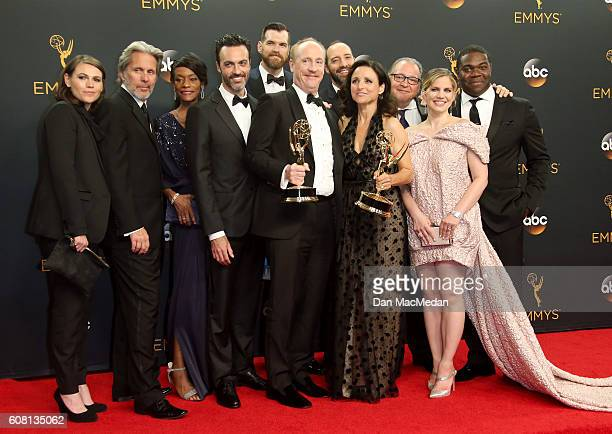 The cast crew of 'Veep' winners of Outstanding Comedy Series pose in the press room at the 68th Annual Primetime Emmy Awards at Microsoft Theater on...