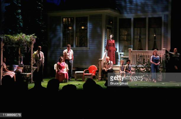 The cast during the curtain call for The Roundabout Theater Company's production of Arthur Miller's All My Sons on Broadway at The American Airlines...