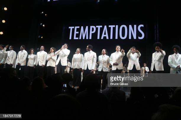"""The cast during the re-opening night curtain call for """"Ain't Too Proud- The Life & Times of The Temptations"""" on Broadway at The Imperial Theatre on..."""