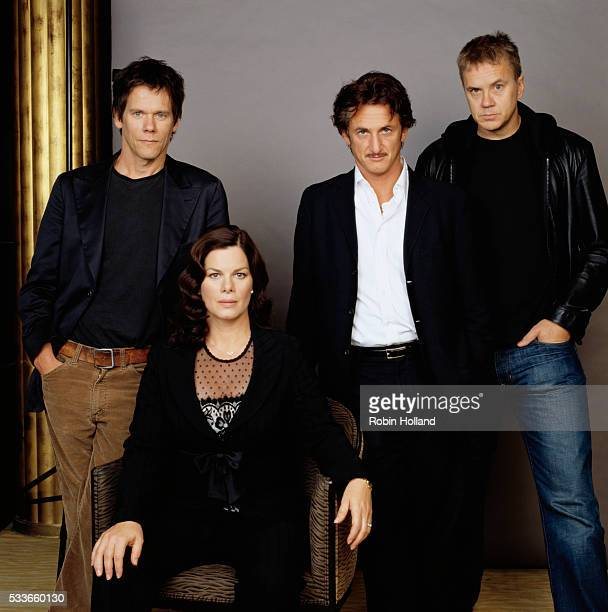 The cast from the 2003 motion picture Mystic River (l-r): Kevin Bacon, Marcia Gay Harden, Sean Penn, and Tim Robbins.