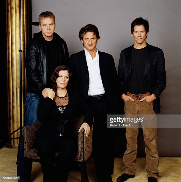 The cast from the 2003 motion picture Mystic River Tim Robbins Marcia Gay Harden Sean Penn and Kevin Bacon