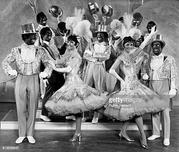 The cast from the stage musical The Black and White Minstrel Show during rehearsals at London's Victoria Palace