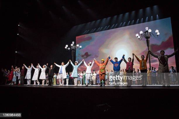 The cast gathers on stage at the end of the opera Angel's Diary on October 18 2020 in Wuhan Hubei province China The opera paying tribute to medical...