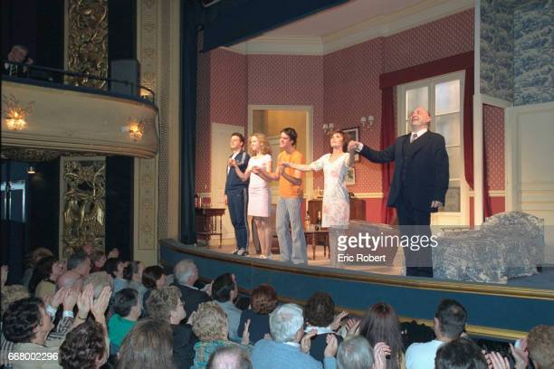 The cast greet the audience who came to see the 150th performance of 'Sous les pav{s la plage'