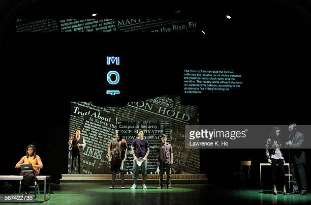 """The cast in the dress rehearsal of the play """"Above the Fold"""" at Pasadena Playhouse in Pasadena on Jan. 26, 2014. New York Times reporter turned..."""