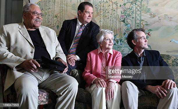 The cast James Earl Jones Angela Lansbury and Boyd Gaines along with producer John Frost pose for a photo during a Driving Miss Daisy photo call on...