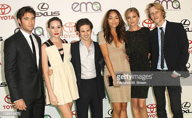 The cast Joshua Bowman Christa B Allen Connor Paolo Ashley Madekwe Emily VanCamp and Garbriel Mann of the television show Revenge attend the 2011...
