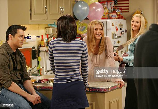 "The cast, Matt LeBlanc, Courteney Cox Arquette, , Jennifer Aniston, , and Lisa Kudrow, , of the hit NBC series ""Friends"" perform during one of their..."