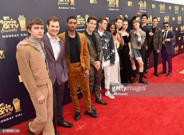 The cast of 13 Reasons Why attend the 2018 MTV Movie And TV Awards at Barker Hangar on June 16 2018 in Santa Monica California