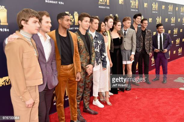 The cast of 13 Reasons Why attends the 2018 MTV Movie And TV Awards at Barker Hangar on June 16 2018 in Santa Monica California