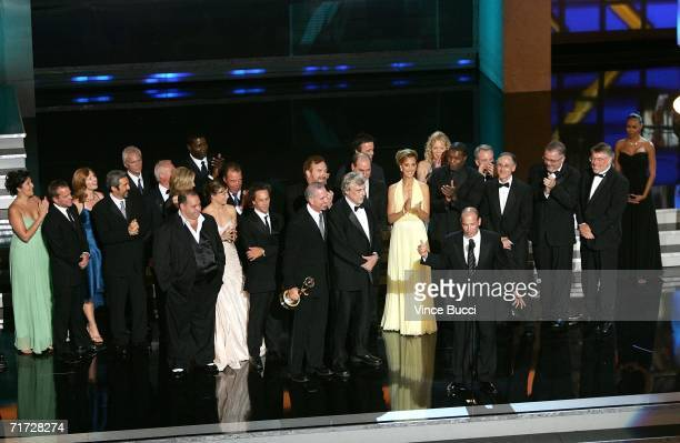 """The cast of """"24"""" accepts the award for Outstanding Drama Series onstage at the 58th Annual Primetime Emmy Awards at the Shrine Auditorium on August..."""
