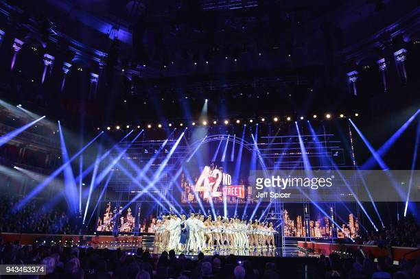 The cast of 42nd Street perform on stage during The Olivier Awards with Mastercard at Royal Albert Hall on April 8 2018 in London England