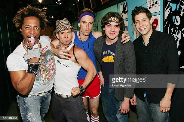 The cast of a new reality television program on MTV named Call To Greatness Ghost Rainbow Andreas Paul and Drew pose backstage after an appearance on...