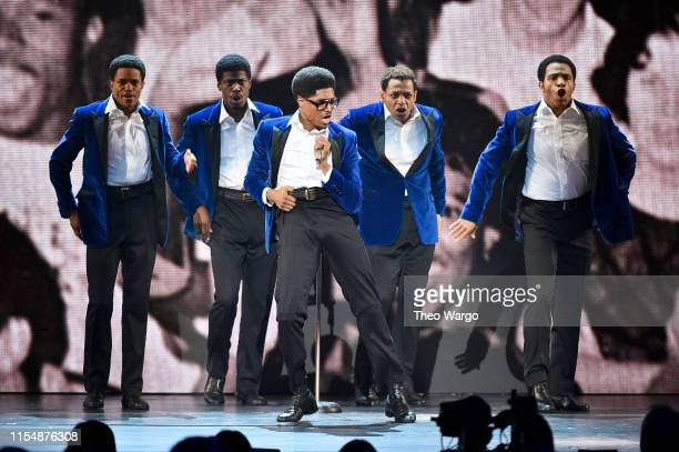 The cast of Ain't Too Proud The Life and Times of the Temptations performs onstage during the 2019 Tony Awards at Radio City Music Hall on June 9...