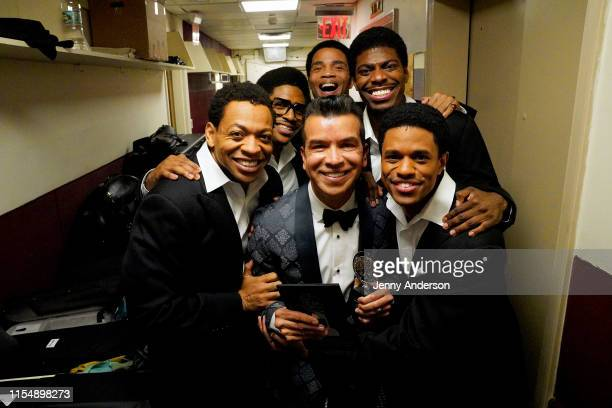 The cast of Ain't Too ProudThe Life and Times of the Temptations poses with Sergio Trujillo who won for Best Choreography attends the 73rd Annual...