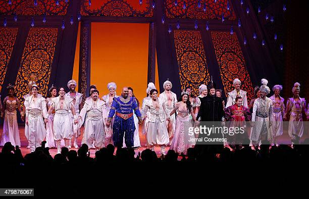 The cast of Aladdin takes a bow during curtain call at the the 'Aladdin' On Broadway Opening Night at New Amsterdam Theatre on March 20 2014 in New...