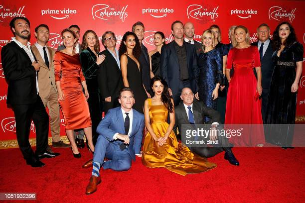 The cast of Amazon Prime Video web TV series 'The Romanoffs' poses on the red carpet for their premiere at the Russian Tea Room on October 11 2018 in...