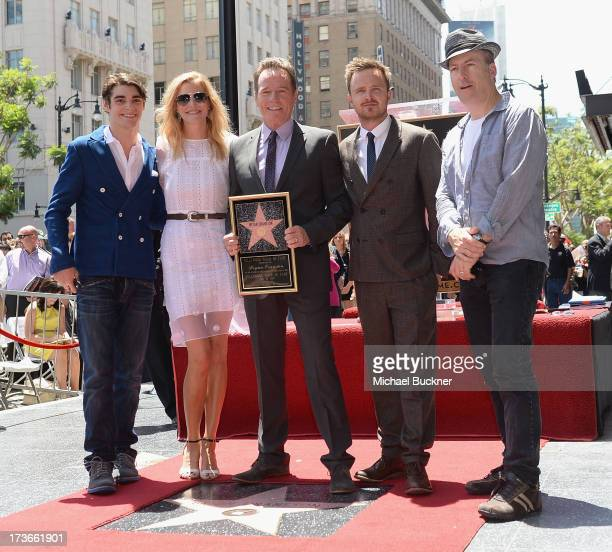 The cast of AMC's Breaking Bad R.J. Mitte, Anna Gunn, Bryan Cranston, Aaron Paul and Rob Odenkirk attend the Hollywood Walk of Fame ceremony honoring...