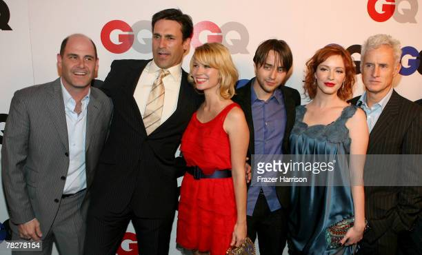 The cast of AMC's Mad Men arrives at the GQ 2007 Men Of The Year celebration at Chateau Marmont on December 5 2007 in Hollywood California