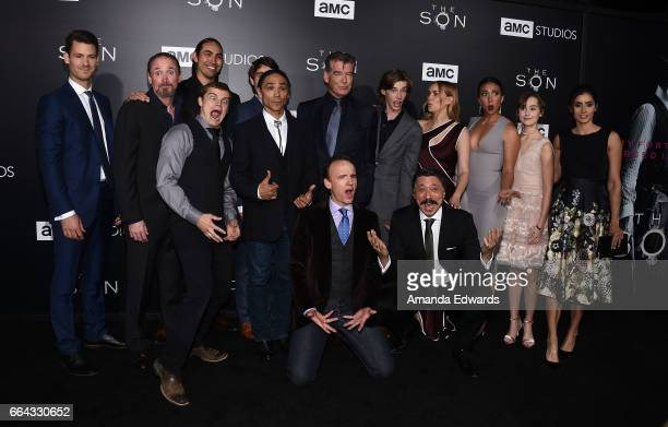 The cast of AMC's 'The Son' arrives at the premiere of AMC's 'The Son' at ArcLight Hollywood on April 3 2017 in Hollywood California