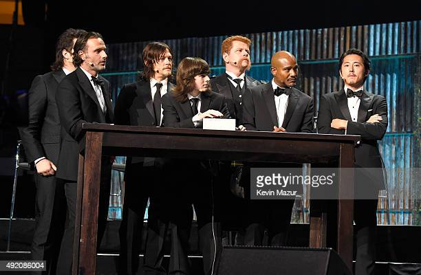 """The cast of AMC's """"The Walking Dead"""" onstage during AMC's """"The Walking Dead"""" season 6 fan premiere event at Madison Square Garden on October 9, 2015..."""