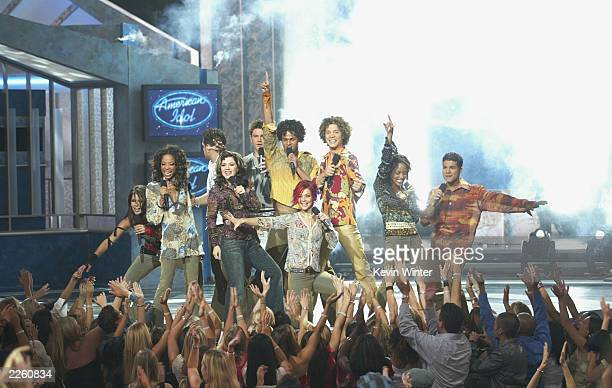 The cast of American Idol at FOXTV's 'American Idol' finale at the Kodak Theatre in Hollywood Ca Wednesday Sept 4 2002 Photo by Kevin Winter/Getty...