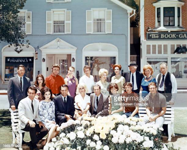 The cast of American soap opera 'Peyton Place' circa 1966 Back row left to right John Kerr Lana Wood Stephen Oliver Leigh TaylorYoung Gary Haynes...