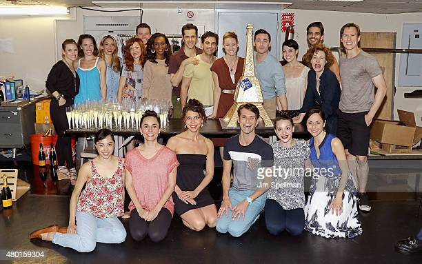 The cast of 'An American In Paris' attend it's 100th performance celebration on Broadway at Palace Theatre on July 9 2015 in New York City