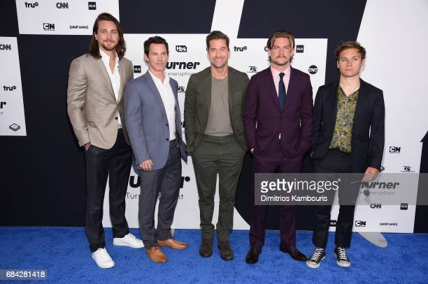 The cast of Animal Kingdon Ben Robson Shawn Hatosy Scott Speedman Jake Weary and Finn Cole attends the Turner Upfront 2017 arrivals on the red carpet...
